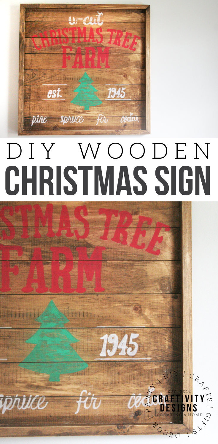 Learn how to make a wooden Christmas Sign to hang in your home. Use the free U-CUT Tree Farm printable as a template for the wood farmhouse sign. #farmhousesign #christmas