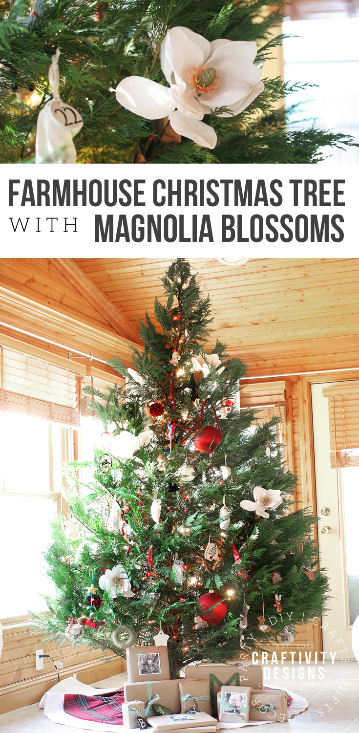 Learn how to decorate a southern style Christmas Tree with magnolia blossoms. The Magnolia is a perfect addition to your Farmhouse Christmas tree. #magnolia #farmhouse #christmas