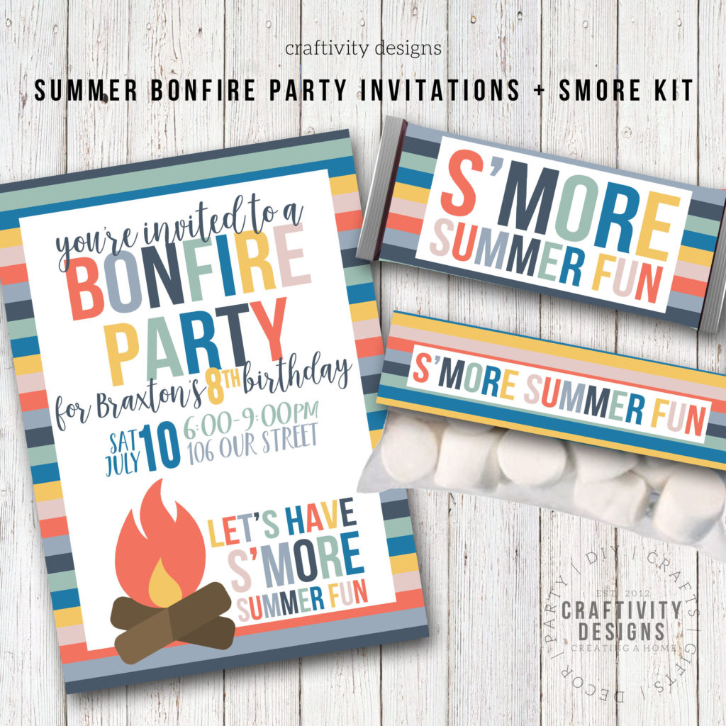 bonfire invitation, summer bonfire party kit