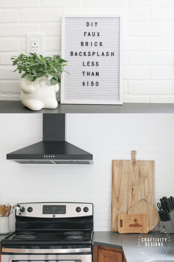 DIY faux brick backsplash less than $150
