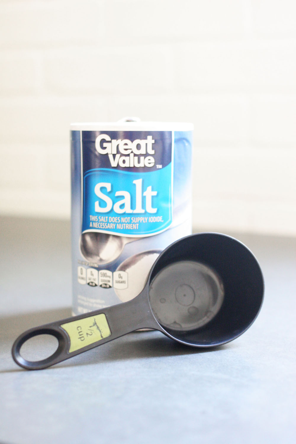 salt and measuring cup