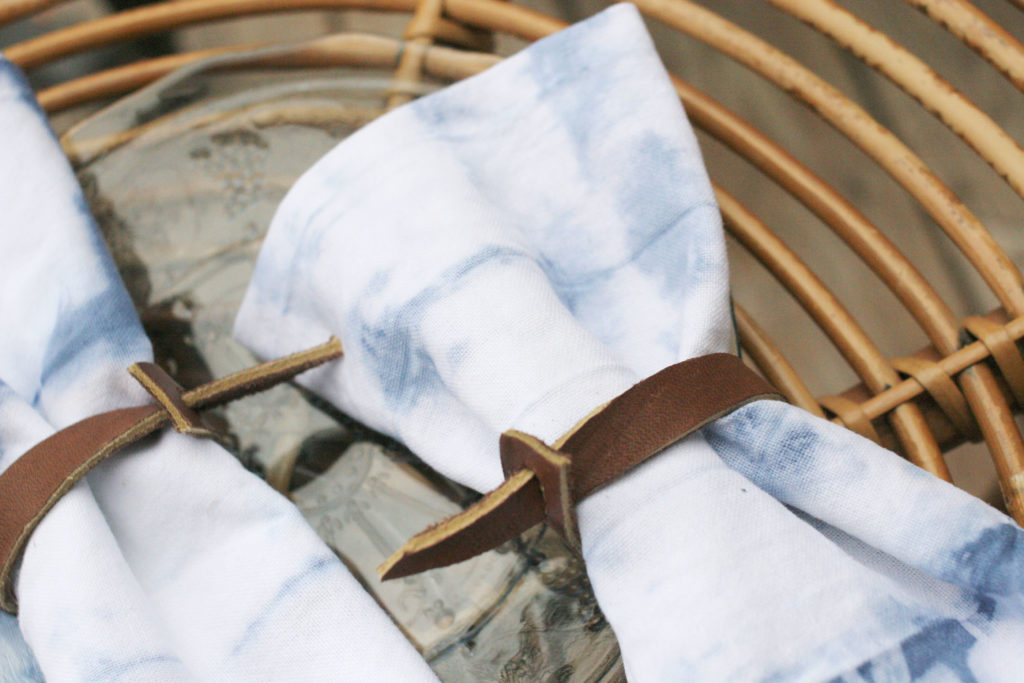 leather diy napkin ring, shibori techniques
