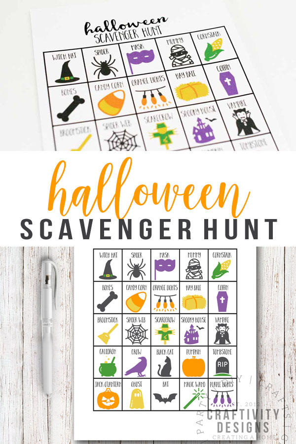 Fun printable Halloween scavenger hunt for kids and adults