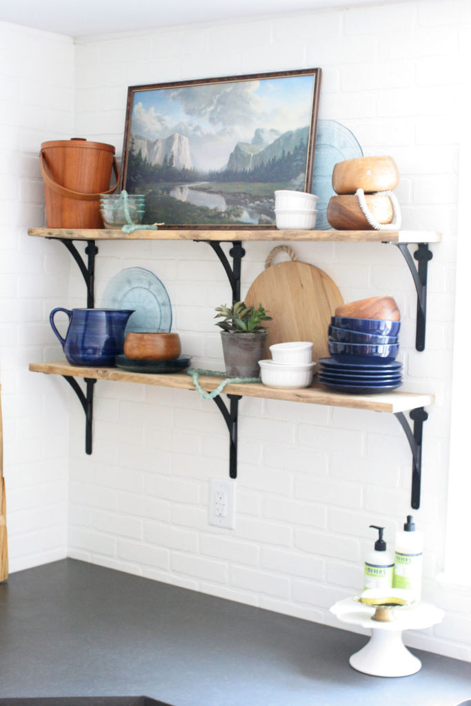 open shelving kitchen brick backsplash subway tile