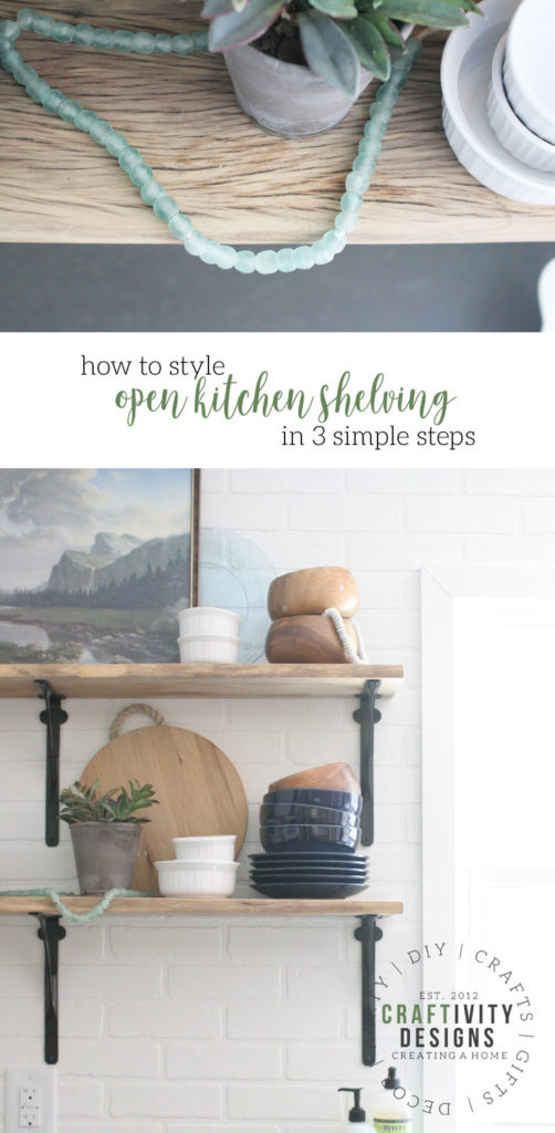 How to Style Open Shelving in a Kitchen in 3 Simple Steps, brick backsplash