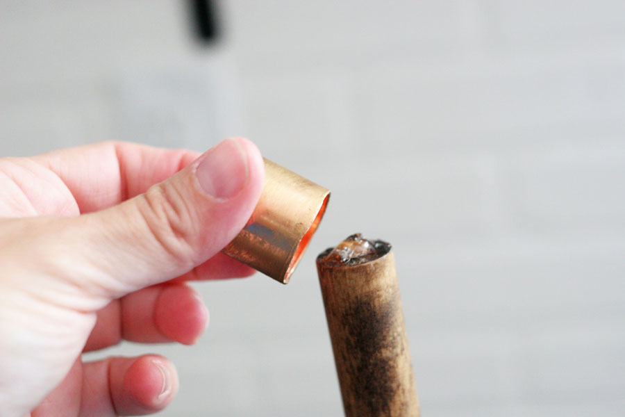 attach copper cap to wood dowel