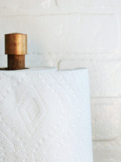 diy paper towel holder with copper brass and wood