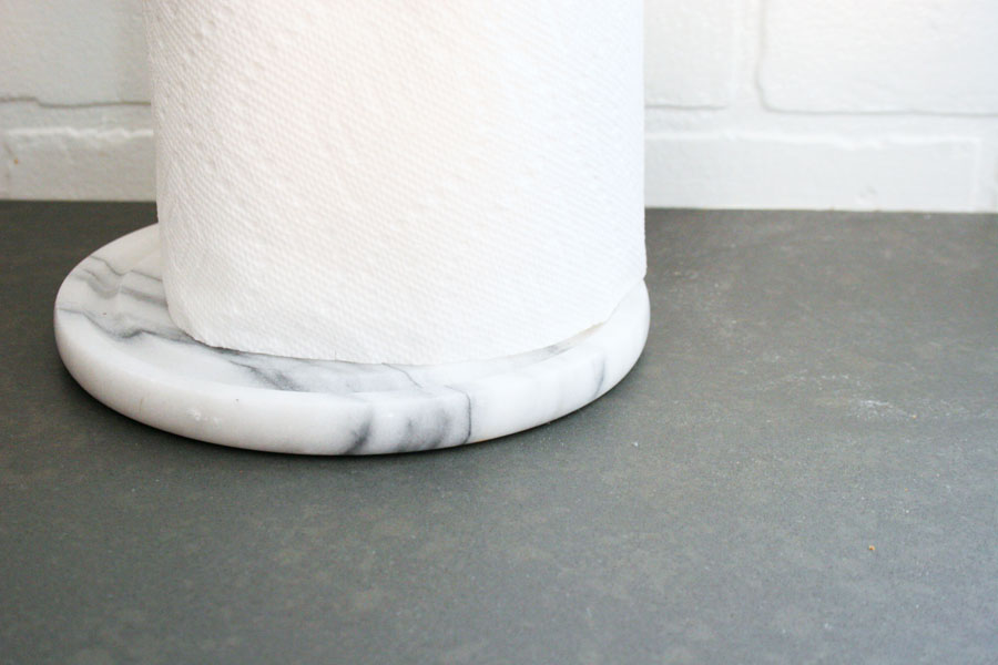 diy paper towel holder with marble base