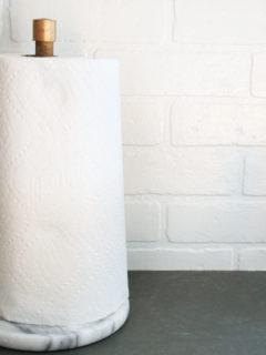 diy paper towel holder, modern, marble, wood, brass