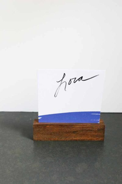 White and Navy Place Card in Wood Place Card Holder