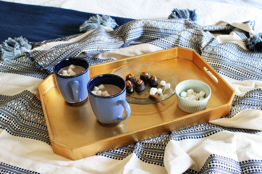 Serve Hot Chocolate in Bed with Bourbon Balls on a Gold Tray
