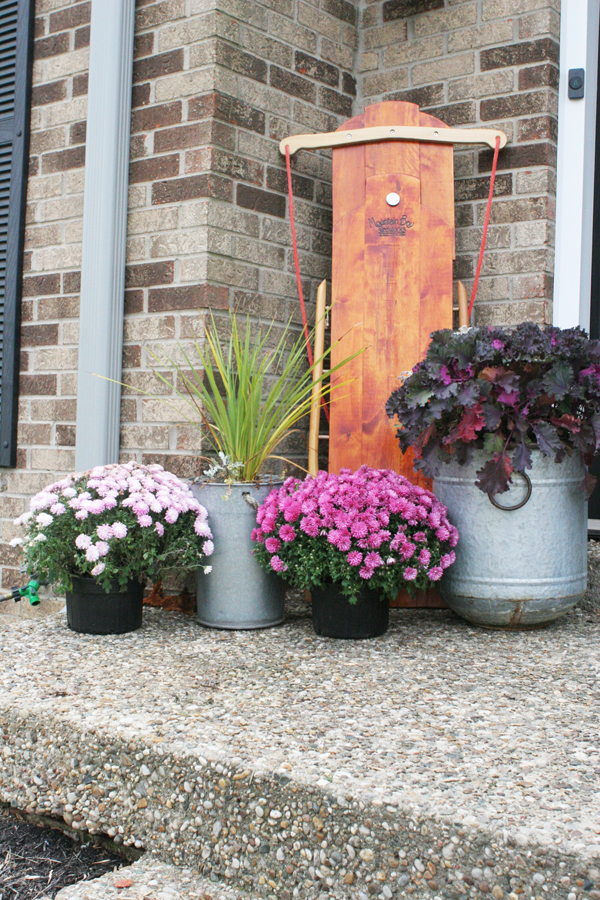 Christmas front porch decor with a wood sled, pink flowers, ornamental lettuce, and tall grass
