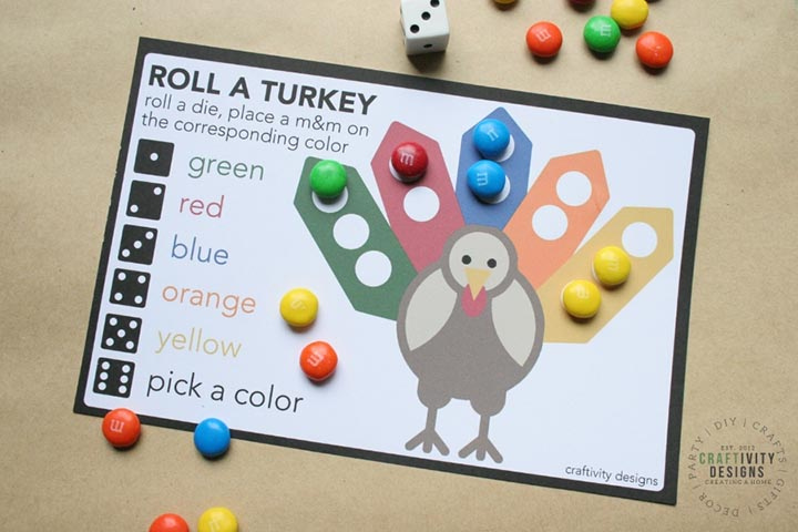 Thanksgiving Dice Game - Roll a Turkey