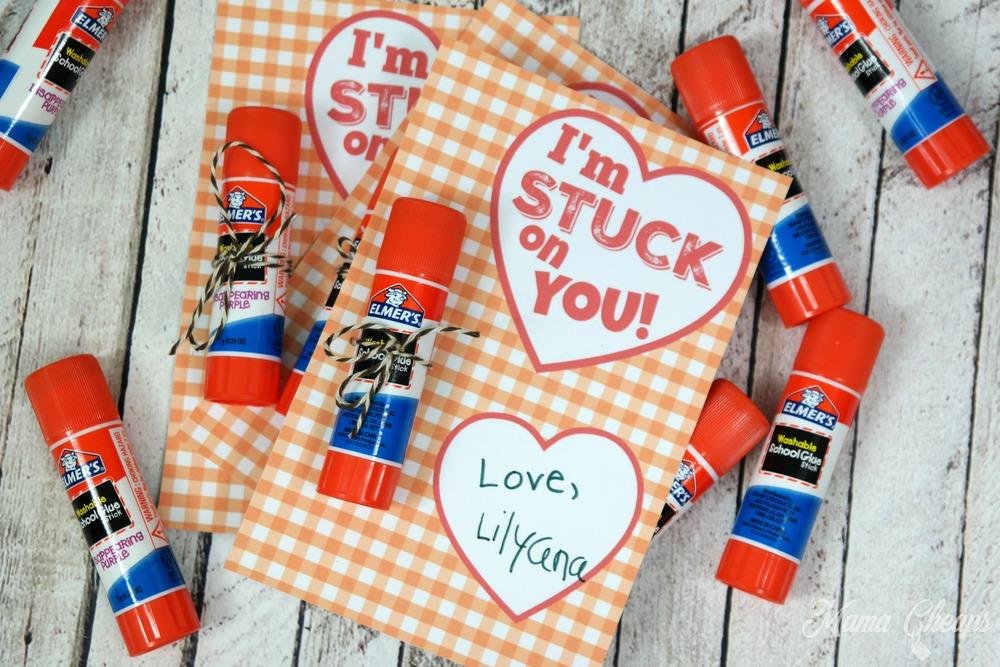candy-free valentines with glue sticks