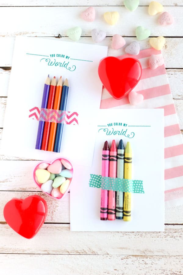 candy-free valentines with colored pencils and crayons