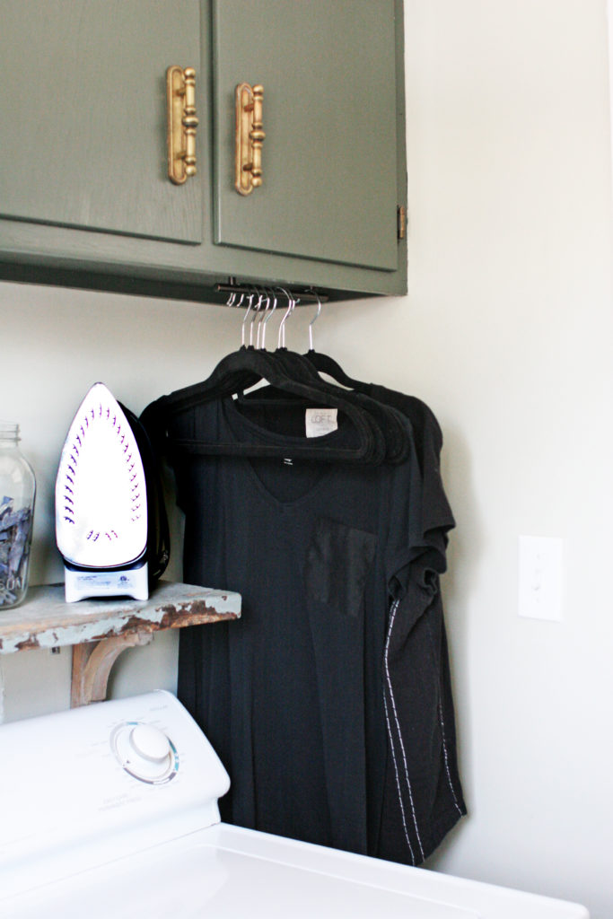hanging space in a small laundry room