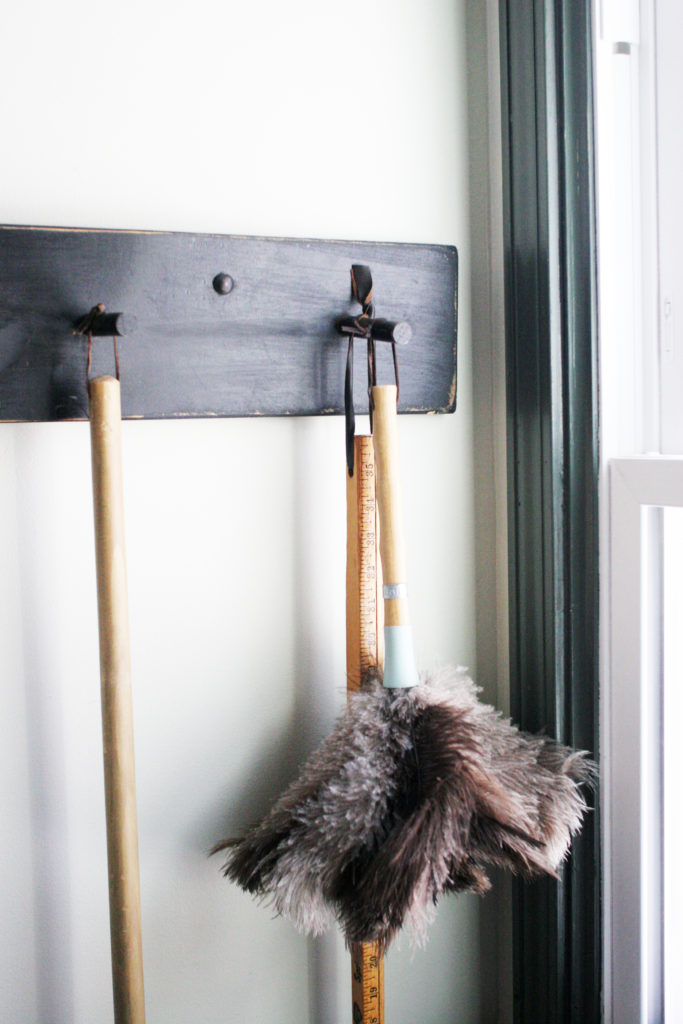 peg rack in a vintage laundry room