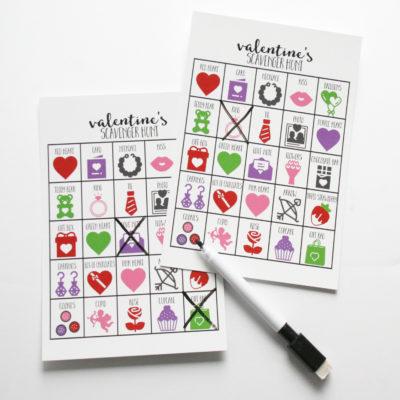 valentines scavenger hunt game
