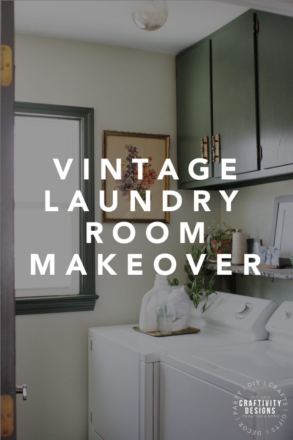 vintage laundry room makeover with green cabinets
