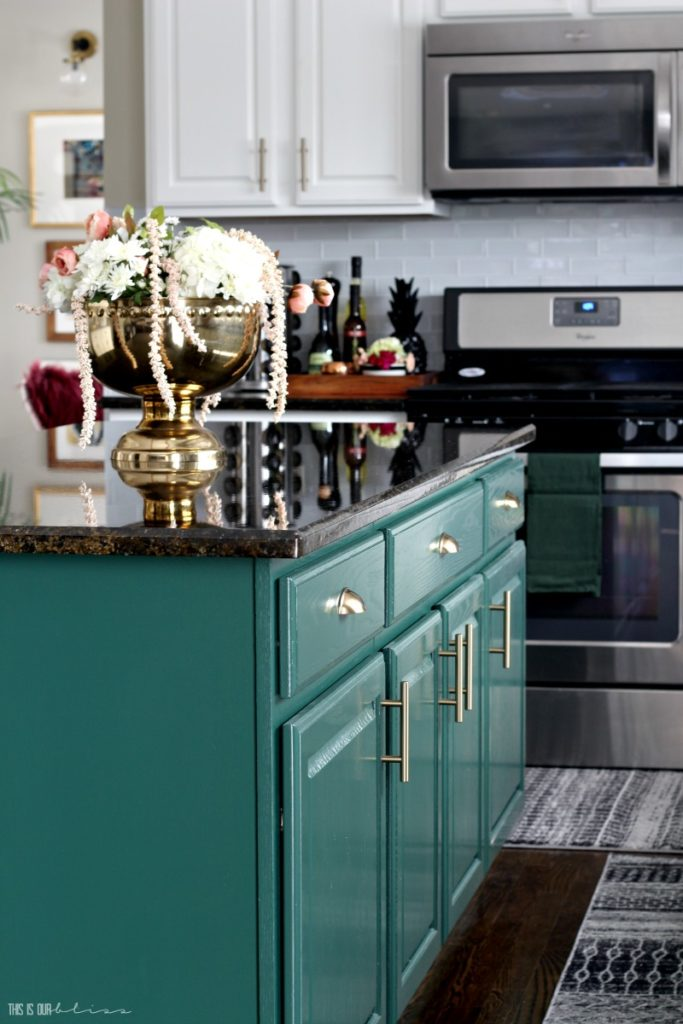 Green Kitchen Island by This is Our Bliss