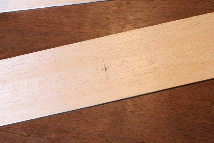mark center of wood