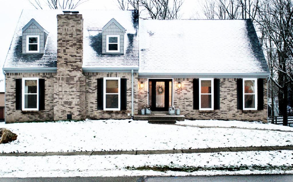 brick exterior home in winter