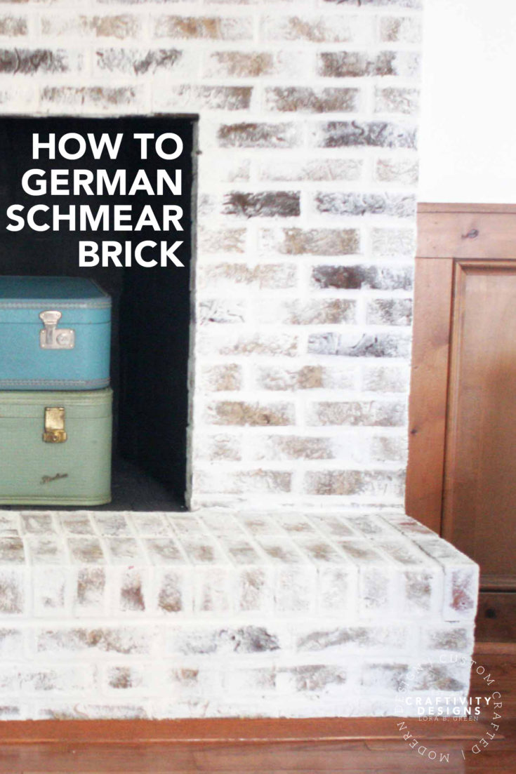 Learn how to German schmear brick, in no time! Makeover a brick fireplace with mortar wash, a beginner-friendly DIY project. #diyproject #renovation #remodel How to German Schmear Brick | How to Mortar Wash Brick | German Smear | Brick Fireplace Makeover | Brick Fireplace Update via @craftivityd