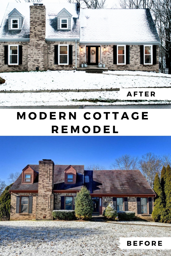 brick exterior home renovation, before and after