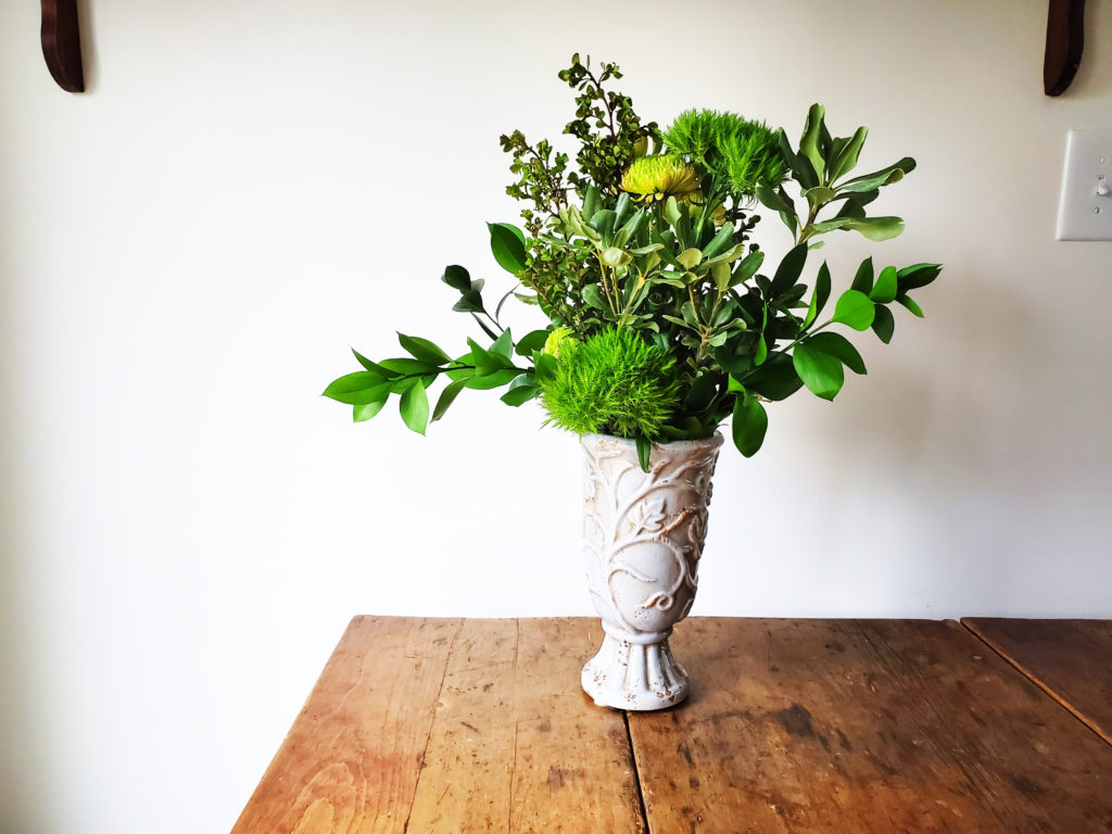 Green Flower Arrangement, how to assemble an all green floral arrangement