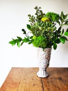 Green Flower Arrangement, how to assemble an all green floral arrangement