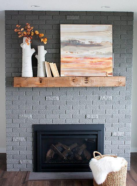 Modern Gray Brick Fireplace