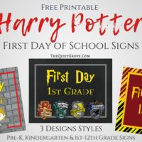 Harry Potter First Day of School Signs