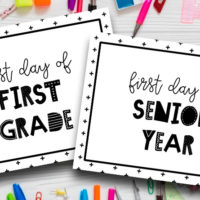 Black and White First Day Of School Free Printable Signs