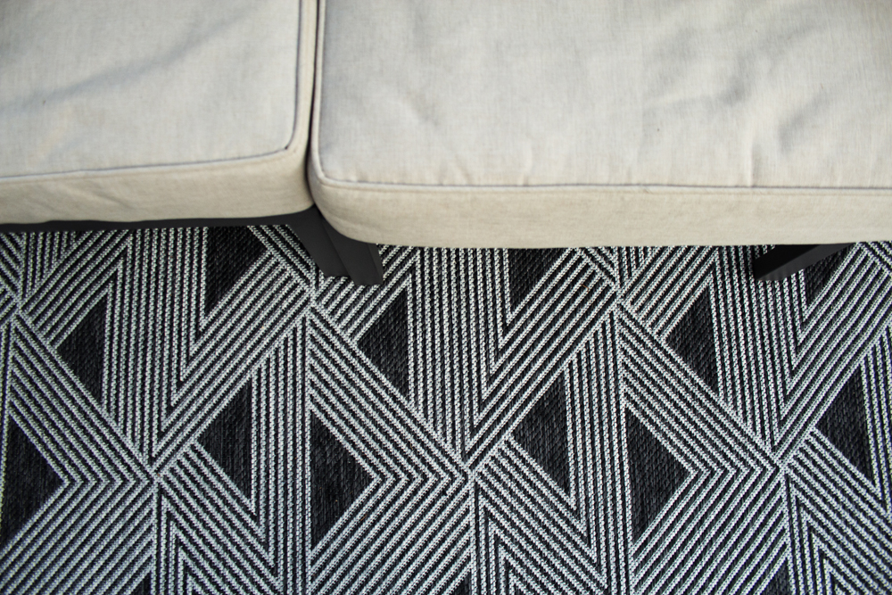 neutral outdoor sofa cushions and modern outdoor rug