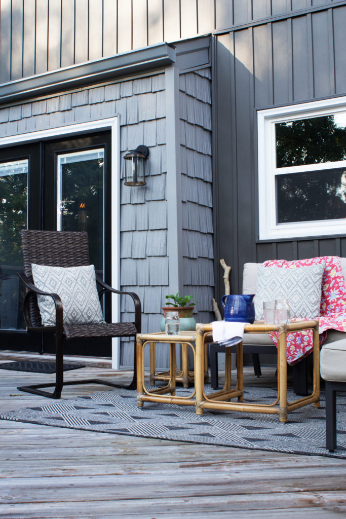 modern cottage style home, modern exterior with board and batten siding, dark gray exterior