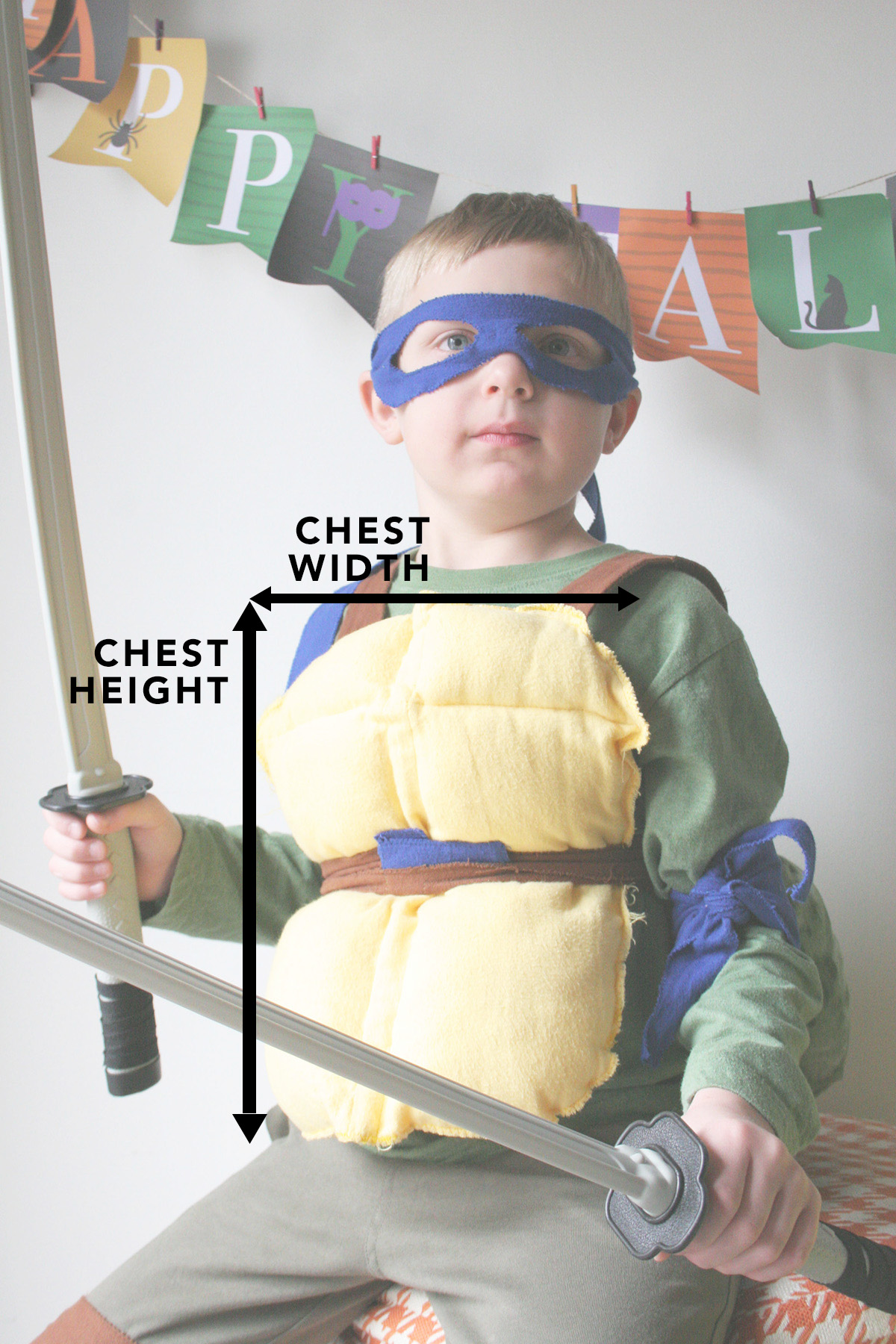 chest and width measurement for ninja turtle costume