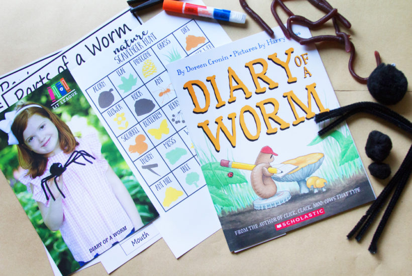 Craft Subscription Box from Lit League Boxes featuring Diary of a Worm and a Nature Scavenger Hunt