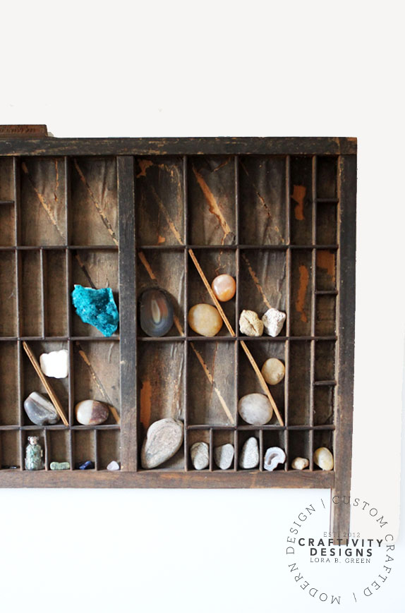 How to Hang a Letterpress Tray to Display a Rock Collection