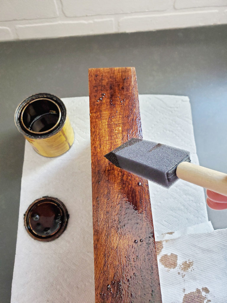 Apply wood stain to unfinished wooden diy essential oil holder