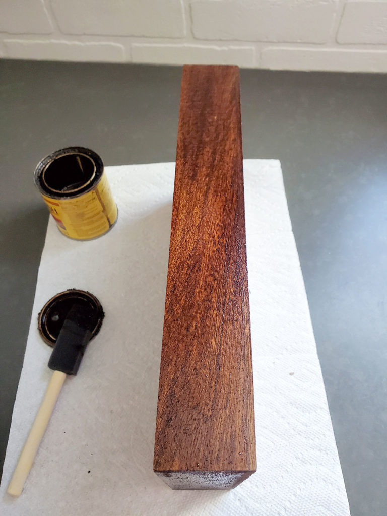 Let the wood stain permeate the unfinished wood on the essential oil holder