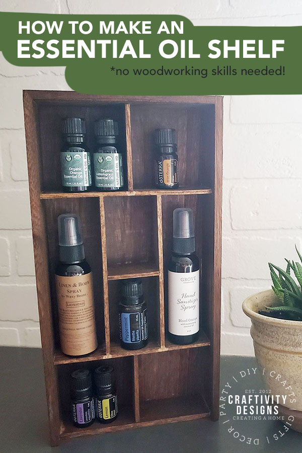 Need a spot to store your essential oils? Learn how to make a DIY essential oil shelf - in minutes! This DIY essential oil holder is easy and inexpensive. DIY Essential Oil Shelf | DIY Essential Oil Rack | DIY Essential Oil Holder | How to Organize Essential Oil Bottles | Wooden Essential Oil Wall Rack | Essential Oil Wooden Display Rack | Essential Oil Wall Shelf #essentialoils #organization #storage