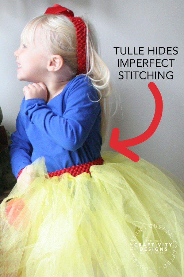 Yellow tulle skirt with red waistband for a Snow White Costume