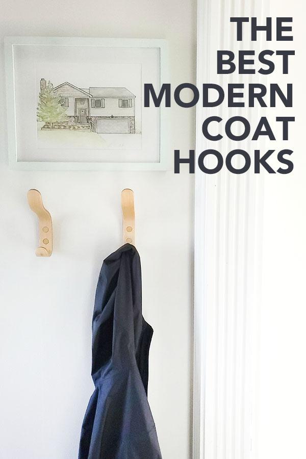 The Best Modern Coat Hooks - jacket hanging on bent wood maple coat hooks