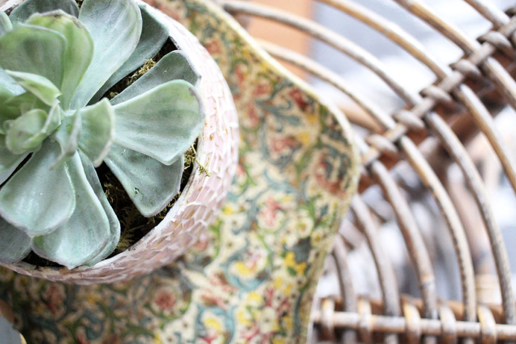 Succulent in a pink planter, on a vintage tray and rattan table - by Craftivity Designs