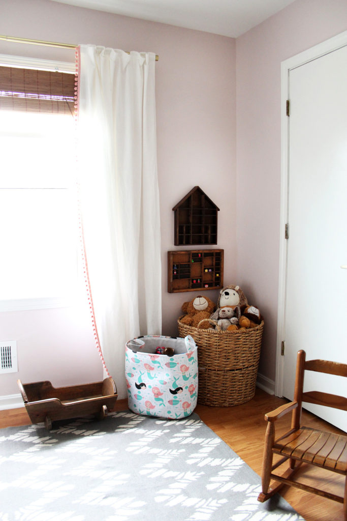 A pink bedroom with toy storage - ideas for a little girls bedroom - by Craftivity Designs