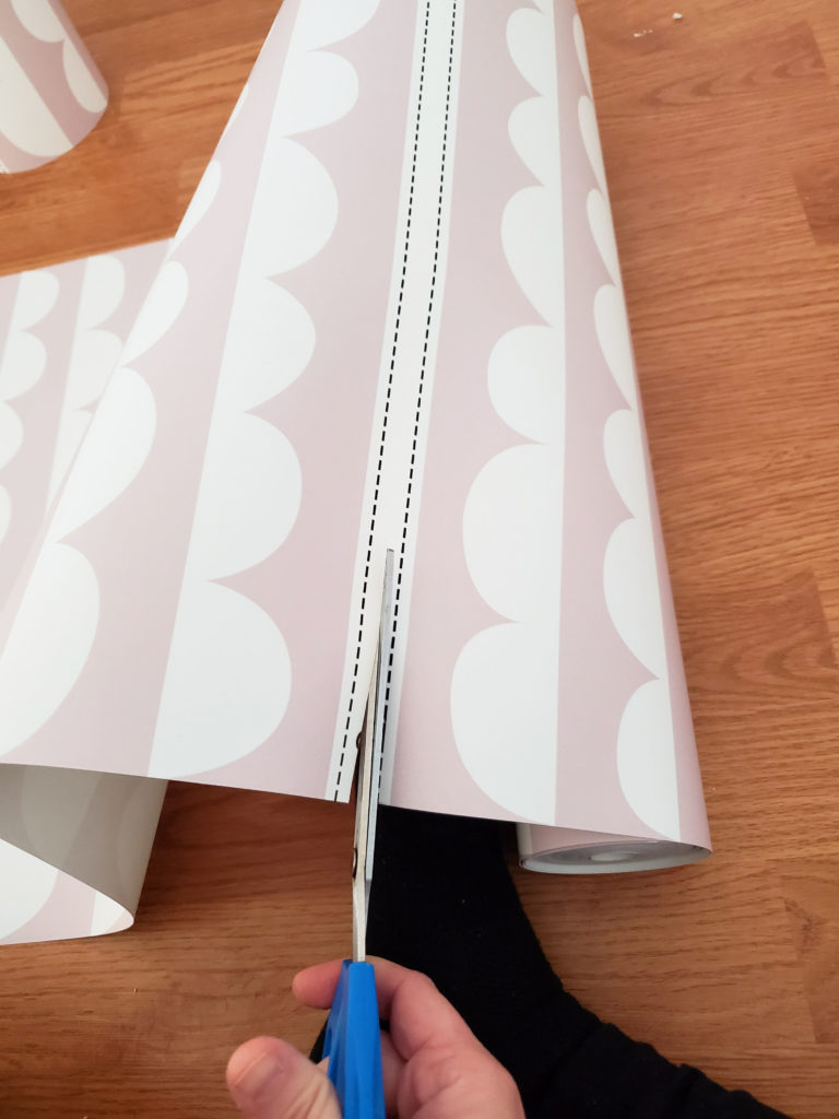 Cutting panels of Pink and White Wallpaper from PhotoWall