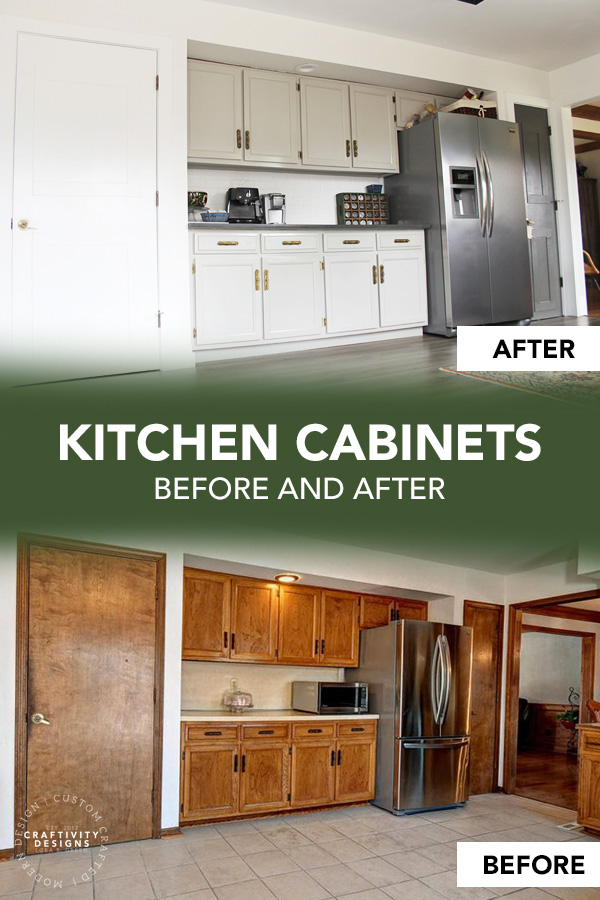 Kitchen Cabinets Before and After Makeover with Light Gray Paint SW Mindful Gray