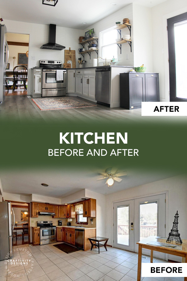 Kitchen Before and After with Painted Cabinets and Open Shelving