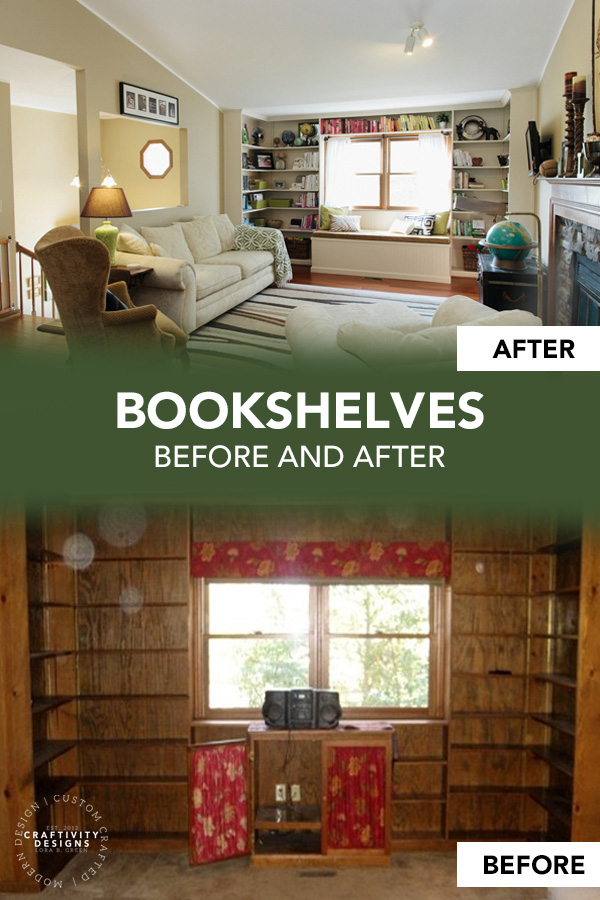 Built-In Bookshelves in a Living Room Before and After Makeover with White Paint