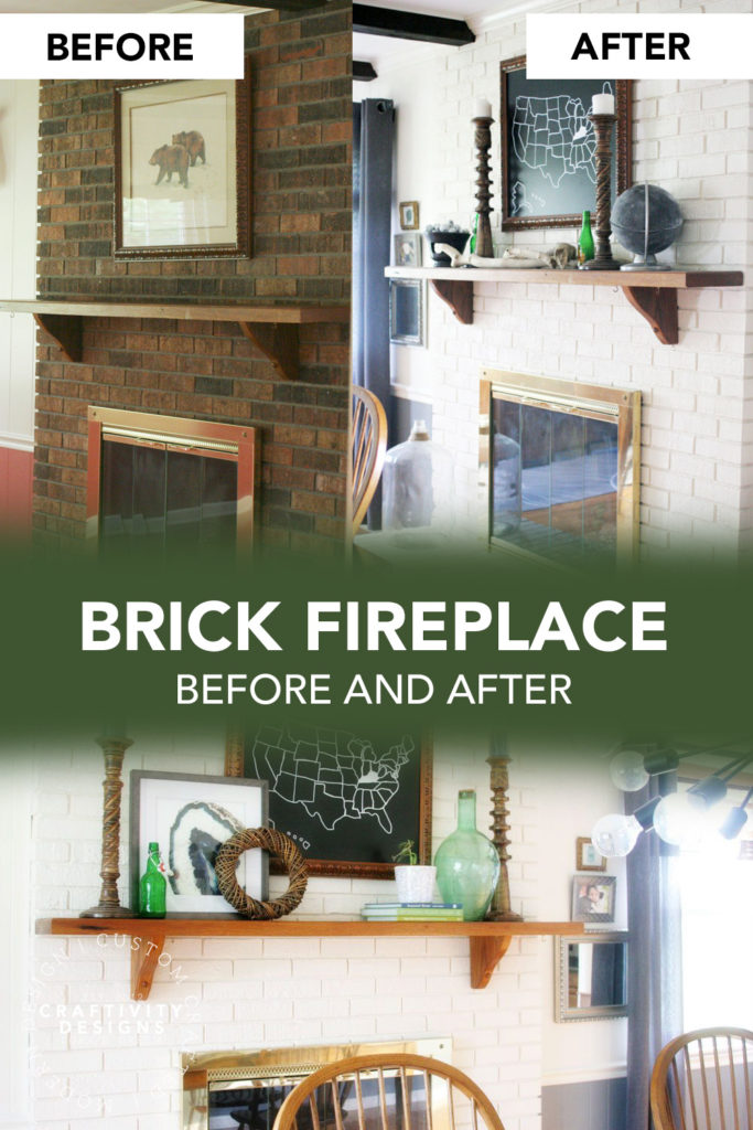 Brick Fireplace Before and After White Paint to Brighten a Dark Room